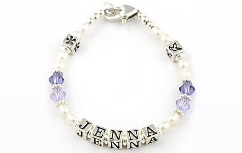 I Just Love It Babys Sterling Silver Name Bracelet - Violet Babys Sterling Silver Name Bracelet - Violet - Gift Details. A lovely gift for little girls everywhere this gorgeous sterling silver name bracelet features pearl beads and violet Swarosvki crystals.  http://www.MightGet.com/january-2017-11/i-just-love-it-babys-sterling-silver-name-bracelet--violet.asp