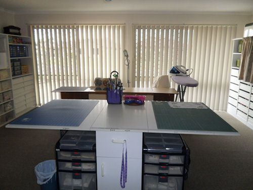 Sewing Room Designs | Center Of Room With Cutting Table And Ironing Area.