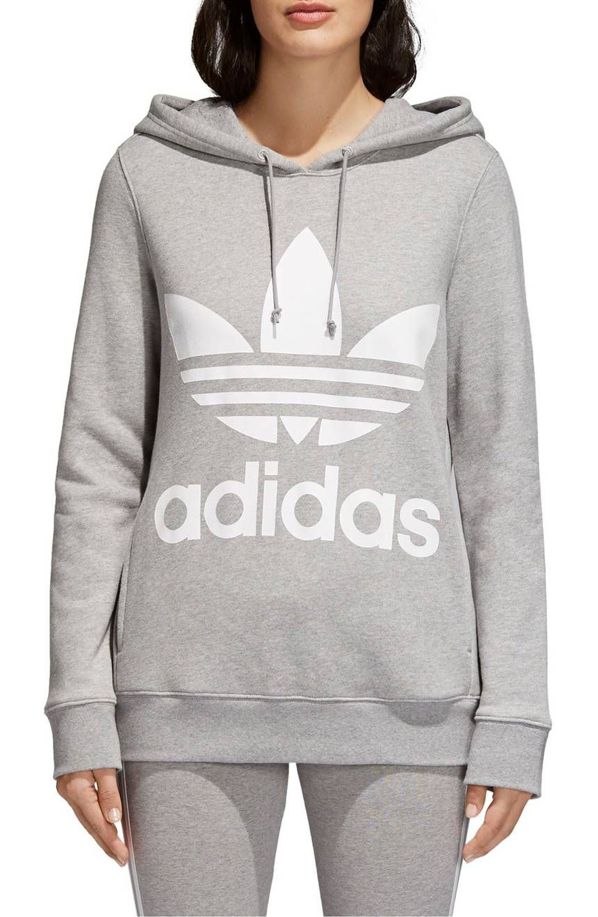 This Sporty Hoodie Is Super Cozy With A Relaxed Fit And Heavyweight French Terry Plus A Bold L Adidas Originals Women Women Hoodies Sweatshirts Hoodies Womens