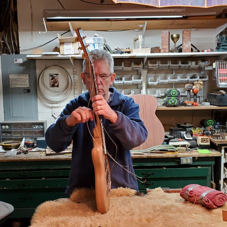Jay The Luthier Uses The Cantilever Neck To Adjust The Angle Guitar Guitar Tuning Guitar Neck