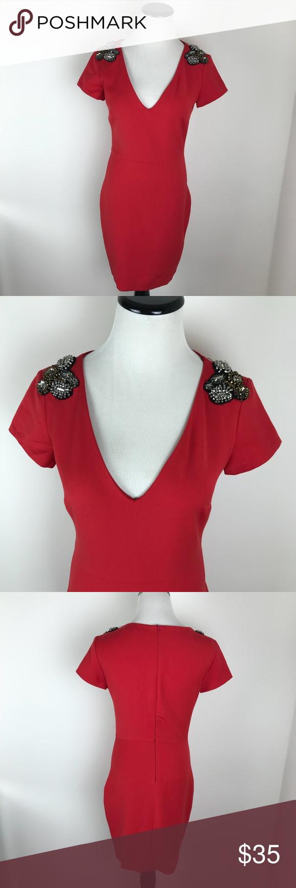 Zara red dress with embellished shoulders my posh picks