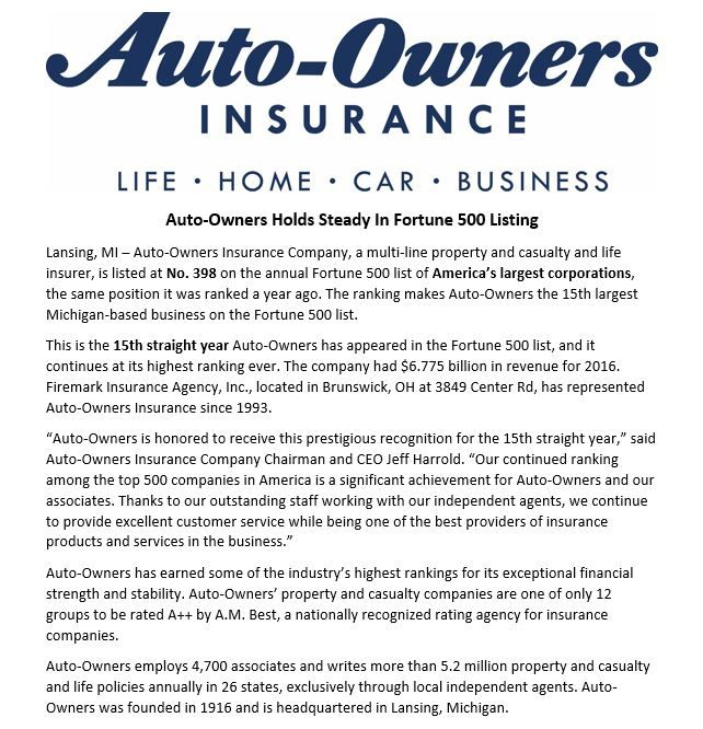 Congratulations To Auto Owners Insurance Company For Making The