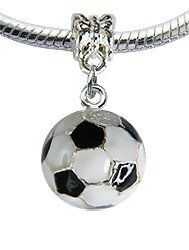 Lovely Silver Plated Soccer Ball Charm Fits Pandora Troll Bracelets Hand