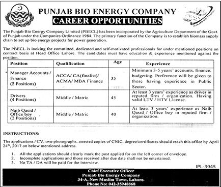 Jobs in Punjab Bio Energy Department for Manager Accountants - financial manager job description