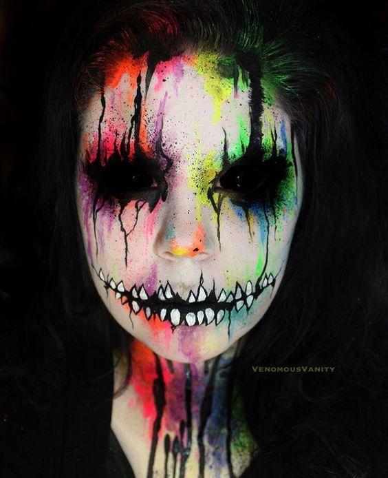 25+ Evil-Scary Halloween Face Paint Ideas For Women - halloween face paint ideas scary