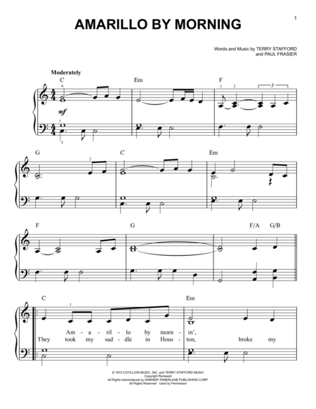 Amarillo By Morning | Piano sheet music | Pinterest | Sheet music ...
