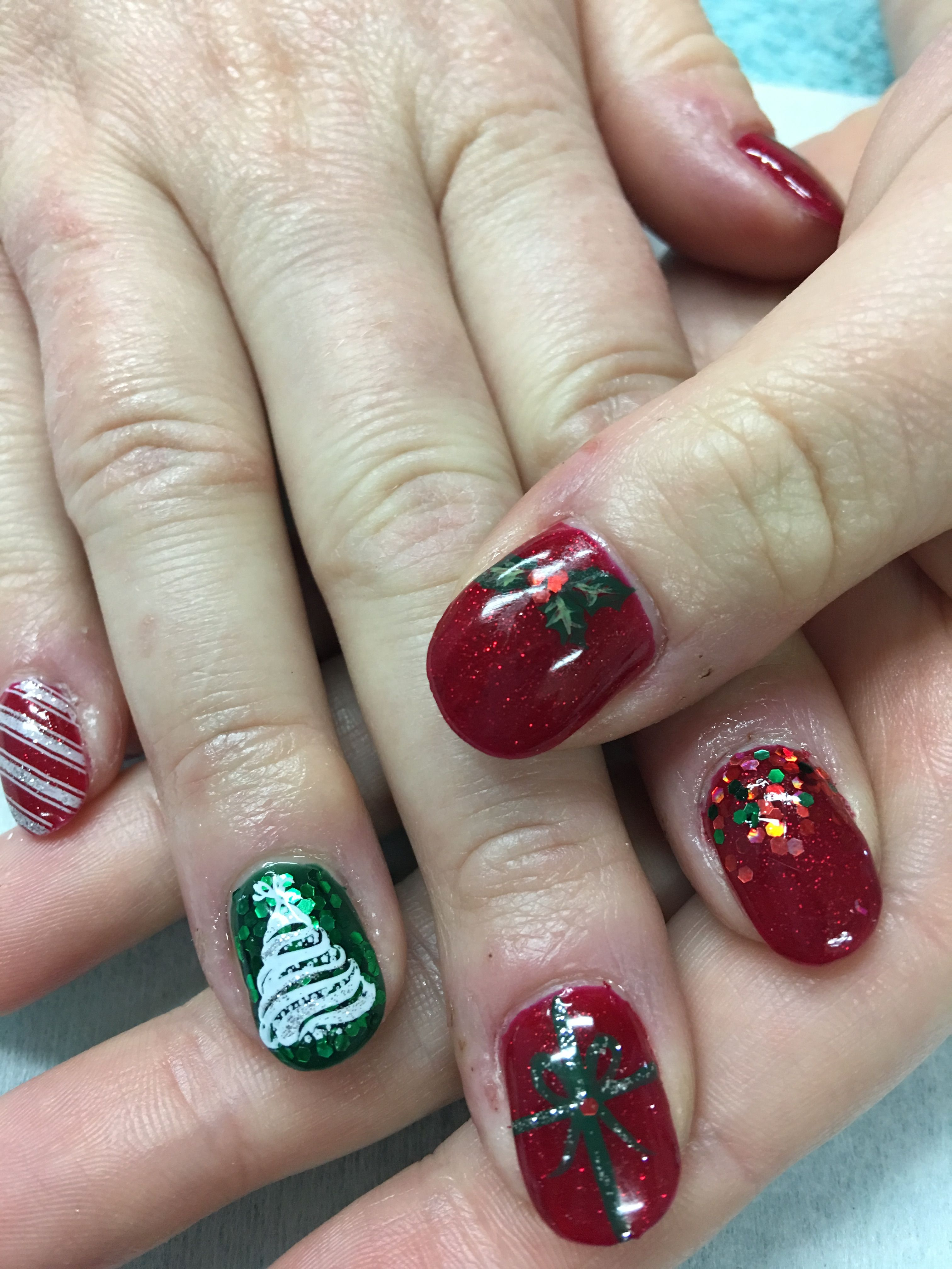 Christmas gel nails Candy Cane Christmas Tree Chunky Glitter ...