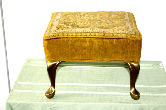 Vintage Velvet Footstool with Anitque Brass Queen Anne Legs, Very Nice, Clean, Sturdy Very Retro, Mid Century Cool