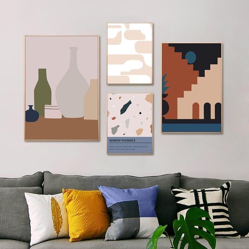 Colorful Abstract Minimalist Geometric Scandinavian Wall Art Posters Nordicwallart Com Scandinavian Wall Art Art Gallery Wall Poster Wall Art