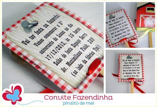 Papelier - papelaria criativa: Convite Fazendinha - pirulito de melzinho
