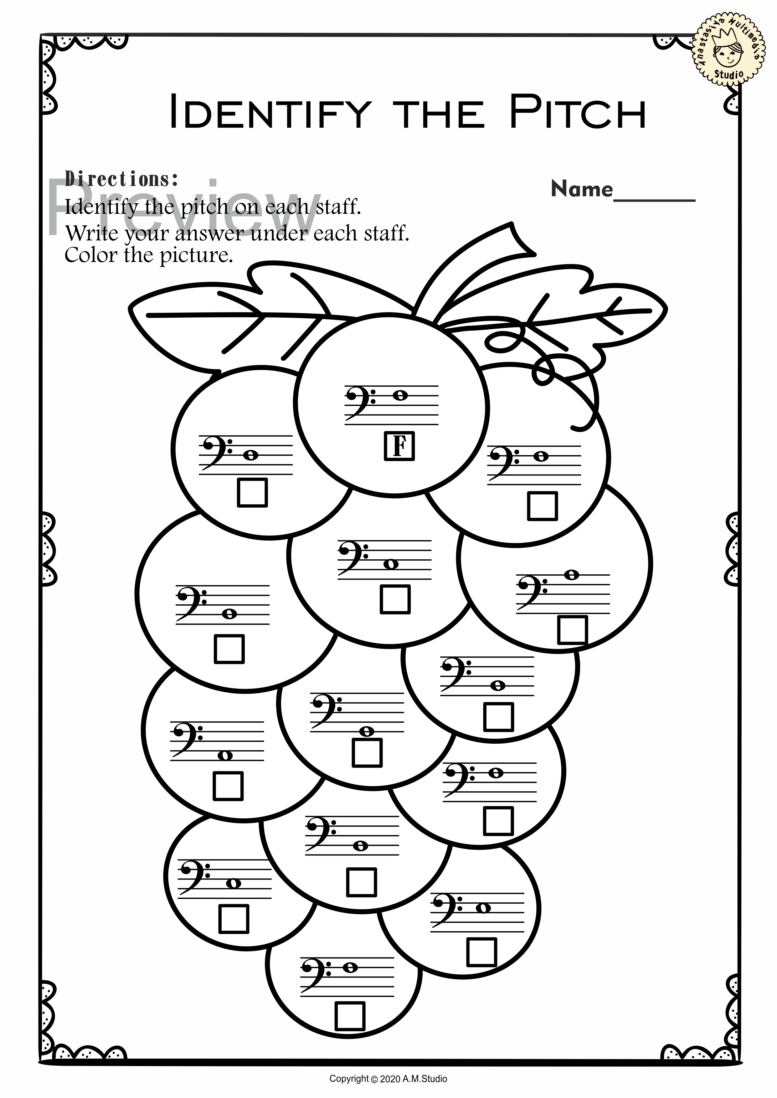 Bass Clef Note Naming Worksheets For Summer In