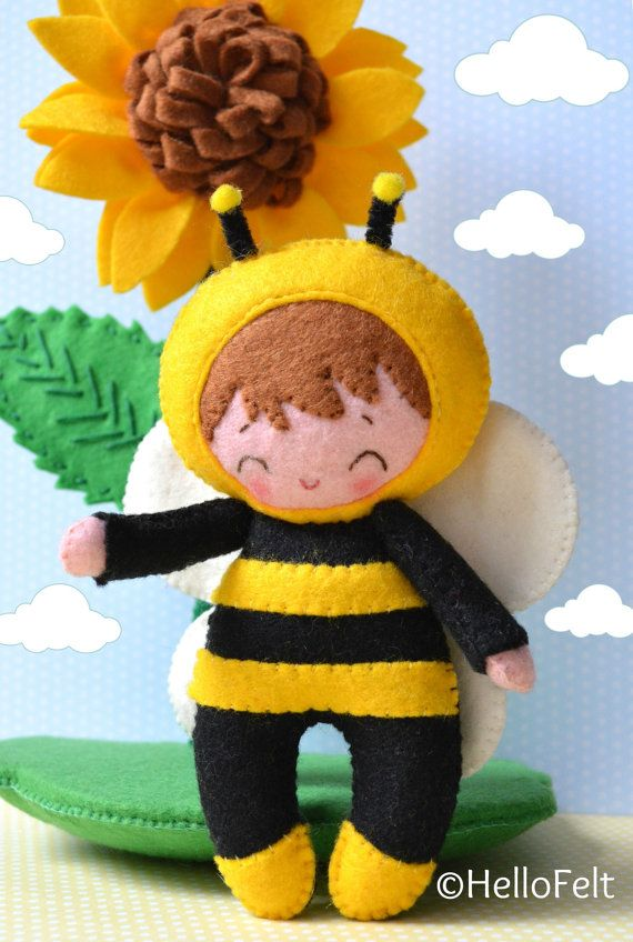 Little Bee Kid felt doll and the base with the felt sunflower all in ...