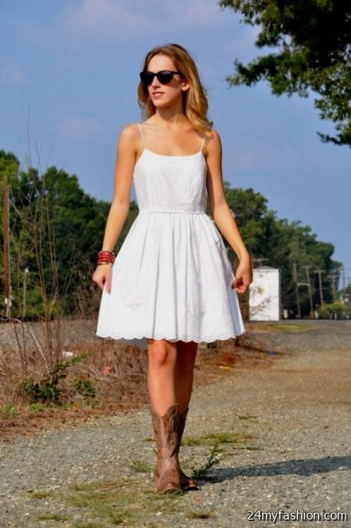 White lace summer dress with cowboy boots 2016 2017 b2b for Dresses to wear to a wedding with cowboy boots