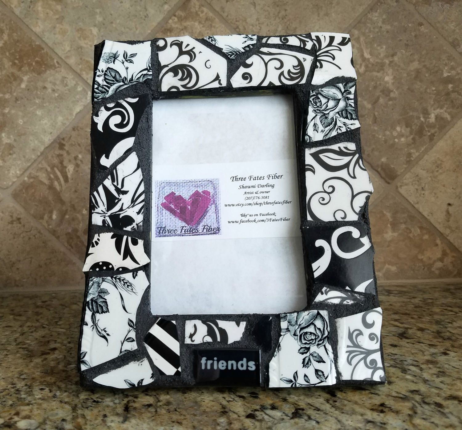 Mosaic picture frame - black and white china picture frame ...
