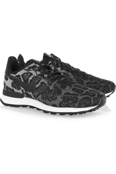 White rubber sole measures approximately 30mm  1 inch Black and tonal-gray  jacquard Lace-up front 28dab853b9