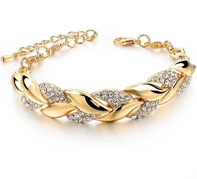 braided gold leaf bracelets bangles with stones luxury crystal bracelets turkish wedding jewelry