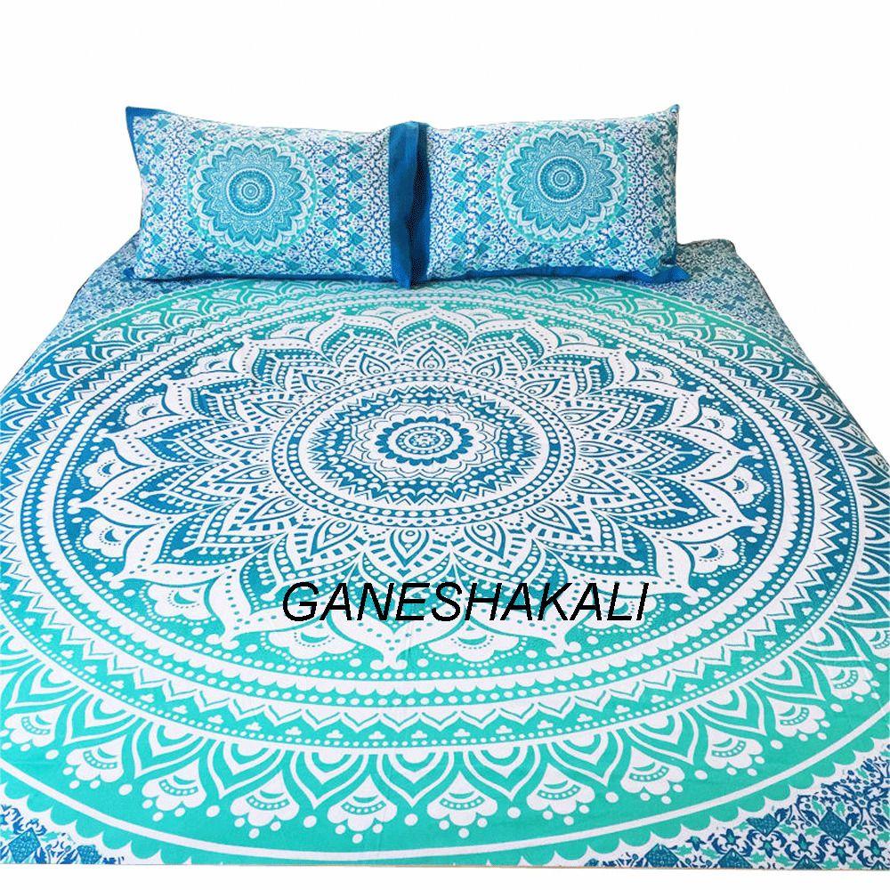 Ombre Doona Mandala Hippie Bohemian Twin Queen Quilt 2 Pillow