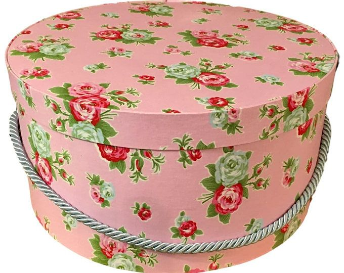 Decorative Fabric Boxes Large Hat Box In Pink Floral Ready To Ship Round Box French