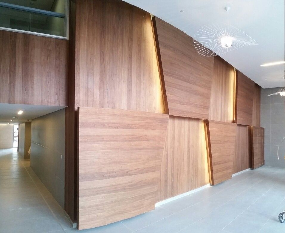 Wood Veneer On Gypsium Board Walls פורנירון Wood Veneer Wall Treatments Veneer Panels