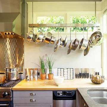 Affordable Kitchen Storage Ideas Stove, Pot racks and Feature