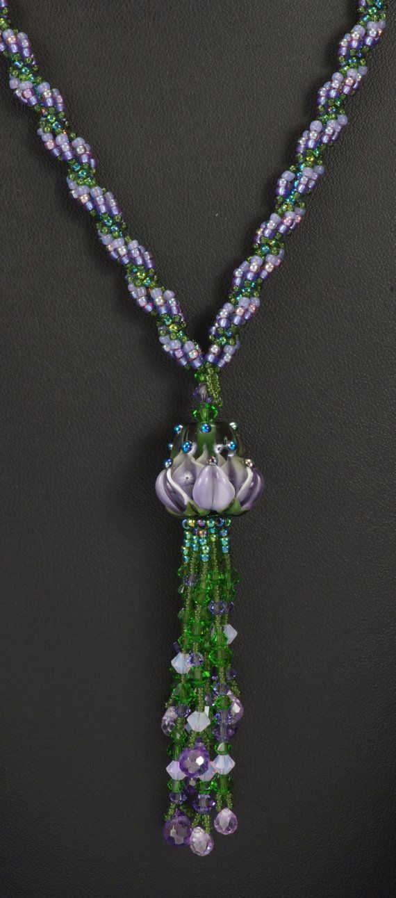 Waterlily: A Beadwoven Necklace by NEDbeads on Etsy