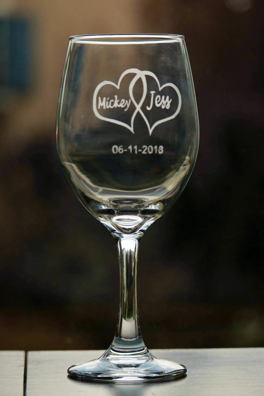 Wedding Wine Gles Etched Gl