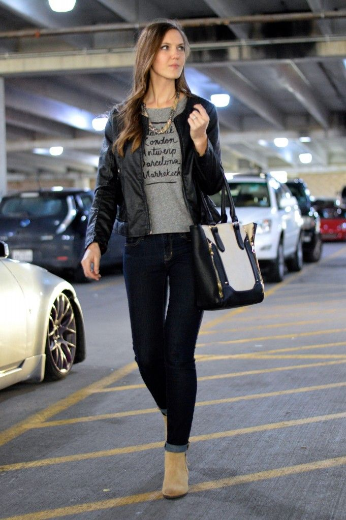 graphic tee + statement necklace + leather jacket + cuffed skinnies + booties