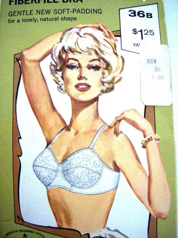Vintage 60s Fiberfill Bra by Celebrity - NOS White Pointy Bra  Dead Stock White Lace Bra In Original Box Size 36 B