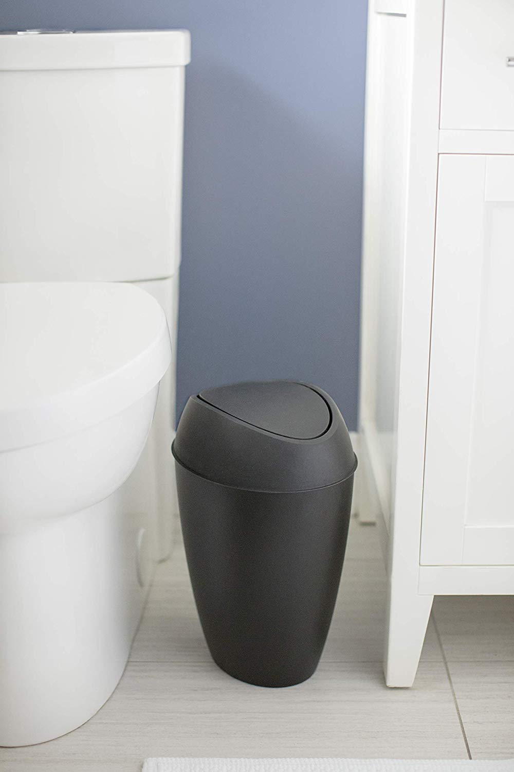 Shadow Gray 2.4 Gallon Trash Can with Swing-top Lid