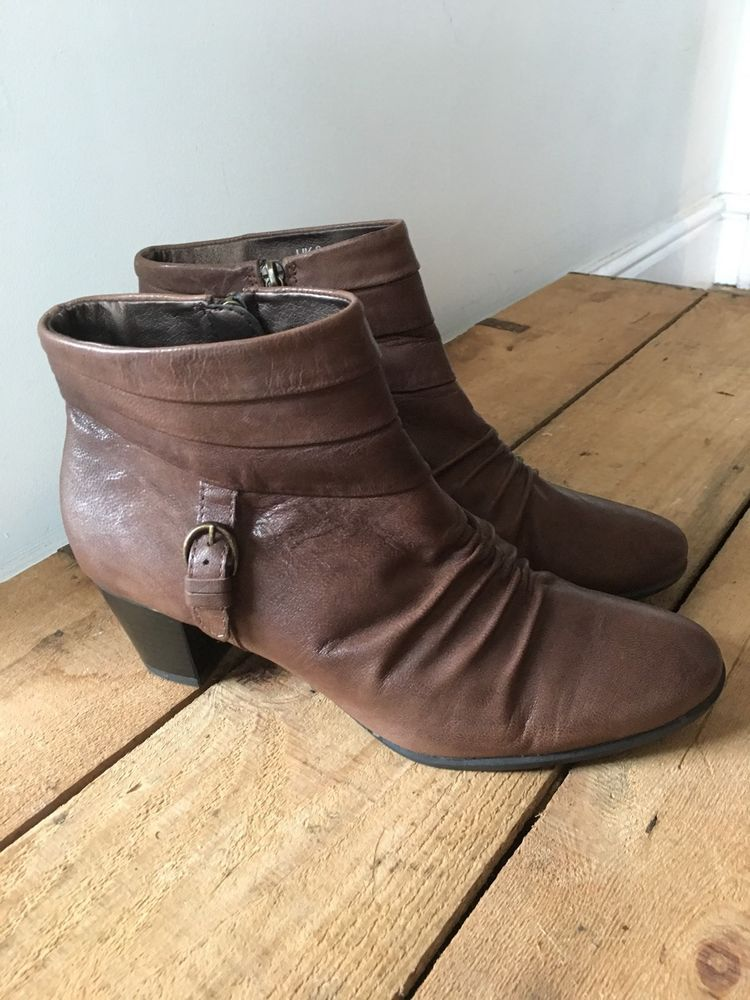 UK SIZE 8 WOMENS FOOTGLOVE BROWN RUCHED