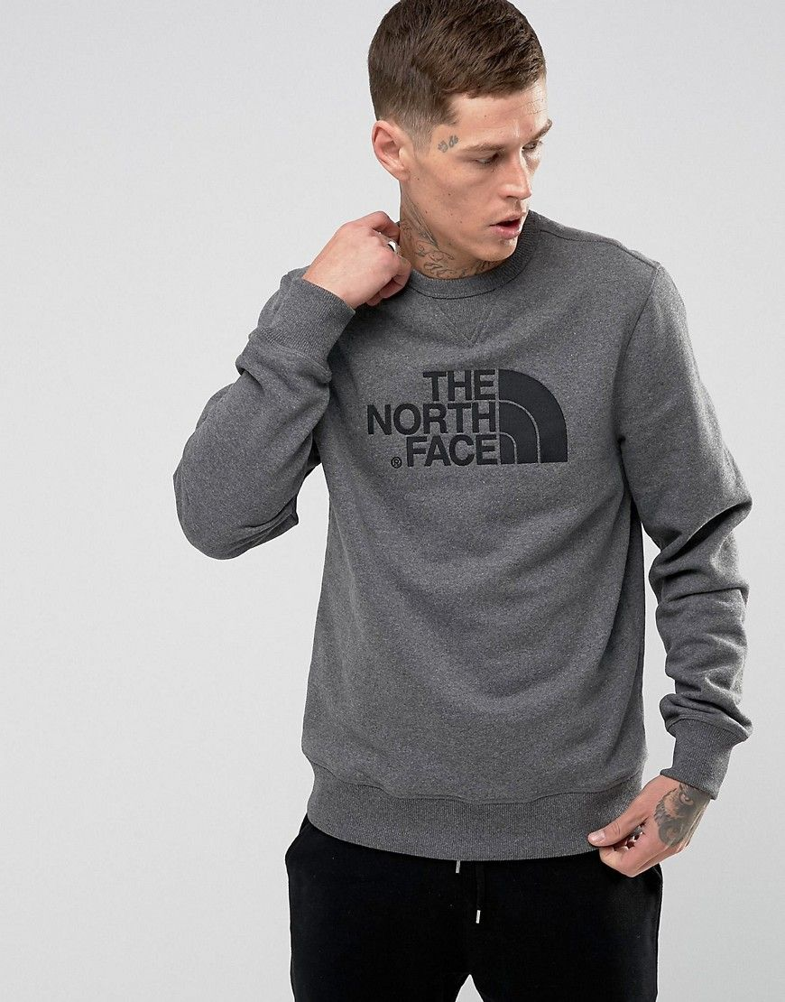 c58236af7 The North Face Drewpeak Crew Neck Sweatshirt Chest Logo in Mid Gray ...
