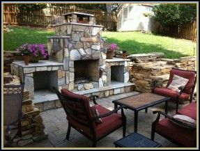 stamped concrete patio with fireplace. Stamped Concrete Patio And Fireplace With O