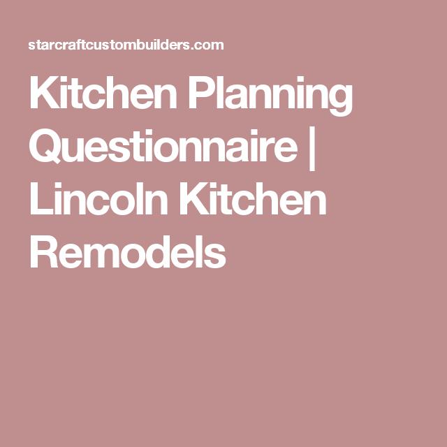 Kitchen Design Questionnaire Kitchen Planning Questionnaire  Lincoln Kitchen Remodels  Spaces