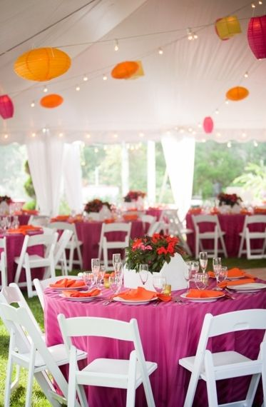 Beau Wedding Tent: Table Clothes: Pink, Orange, Yellow; Chairs: White; Chinese  Lanterns: Pink Orange, Yellow.