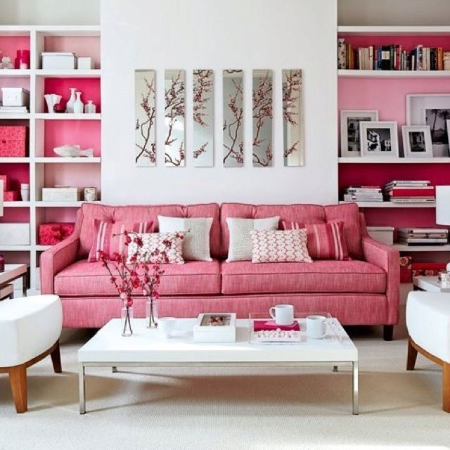 Great placement of colour to break up the white. | Living Room ...