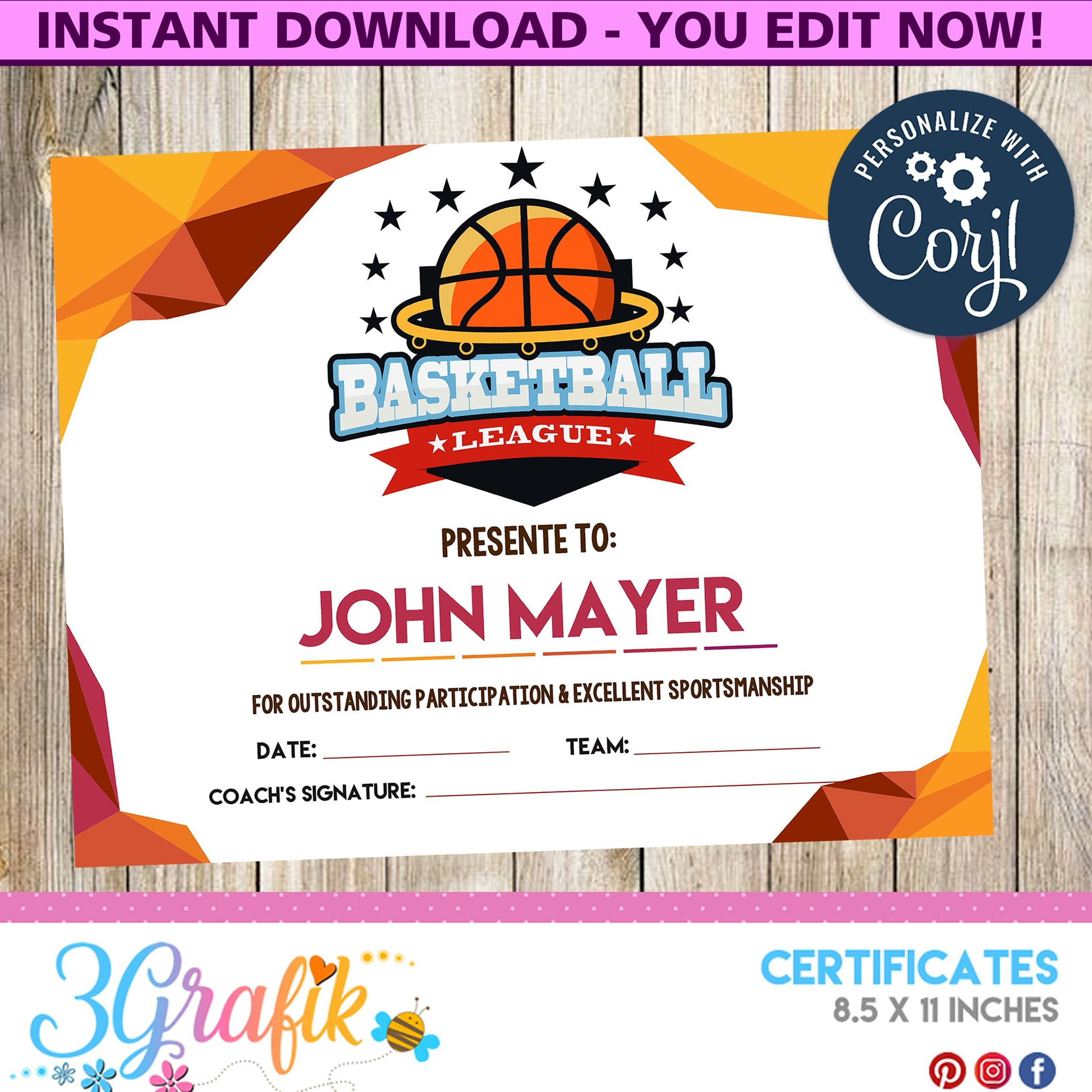 picture relating to Printable Basketball Certificates called Basketball Certification Printable - 3Grafik