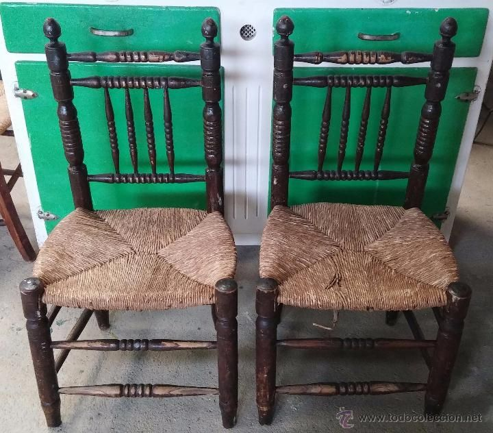 Antiguas sillas de madera torneada con asientos de enea - Compra y venta de muebles antiguos ...