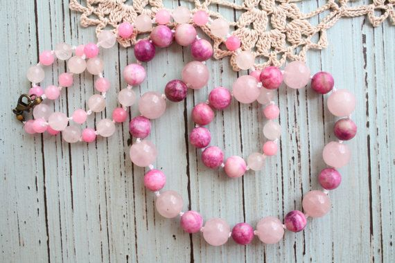 Knotted Rose Quartz Pink Agate and Jade Necklace by OKBeadsnCrafts, $35.00