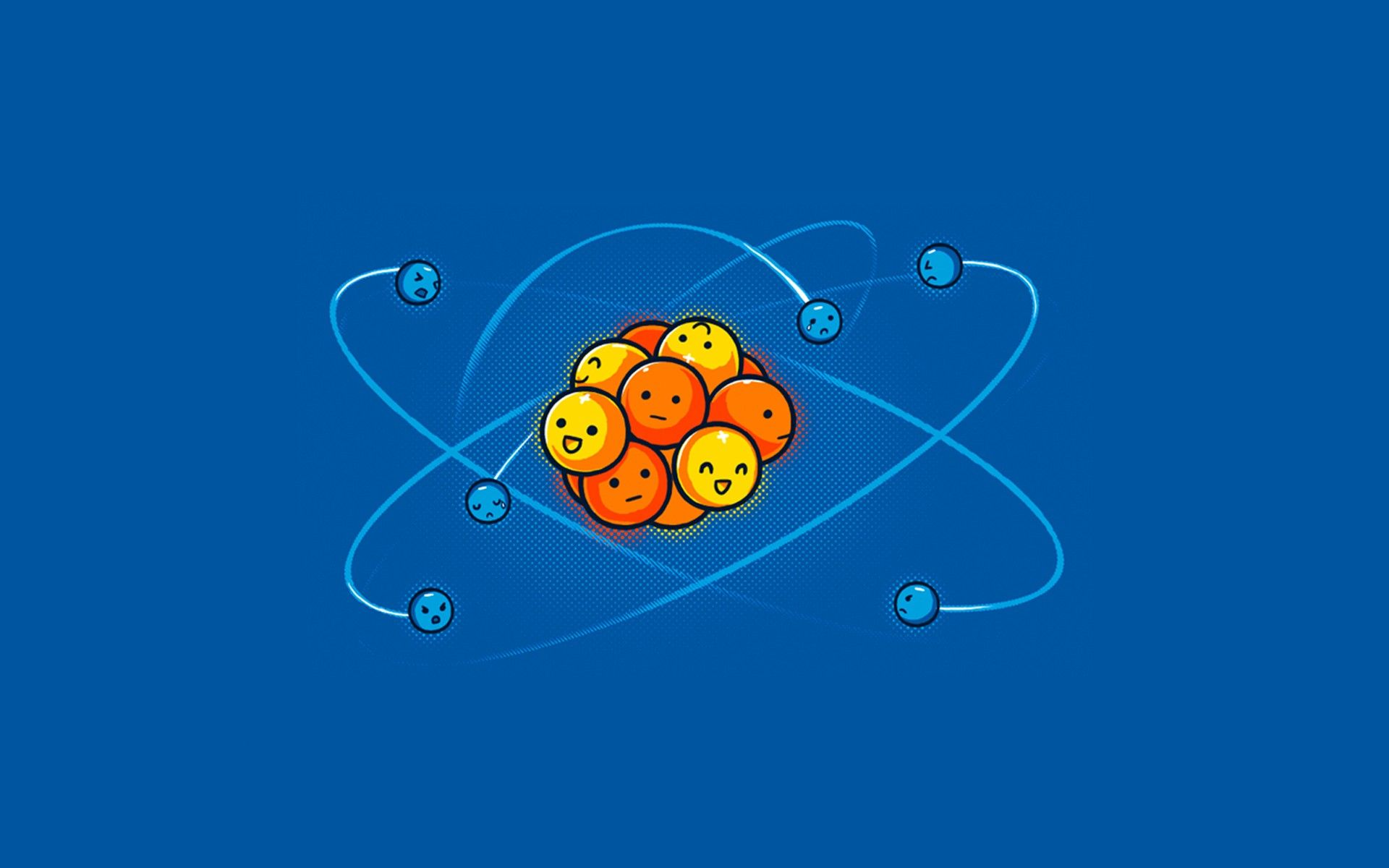 Electrons Atoms Blue Background Simple Minimalism