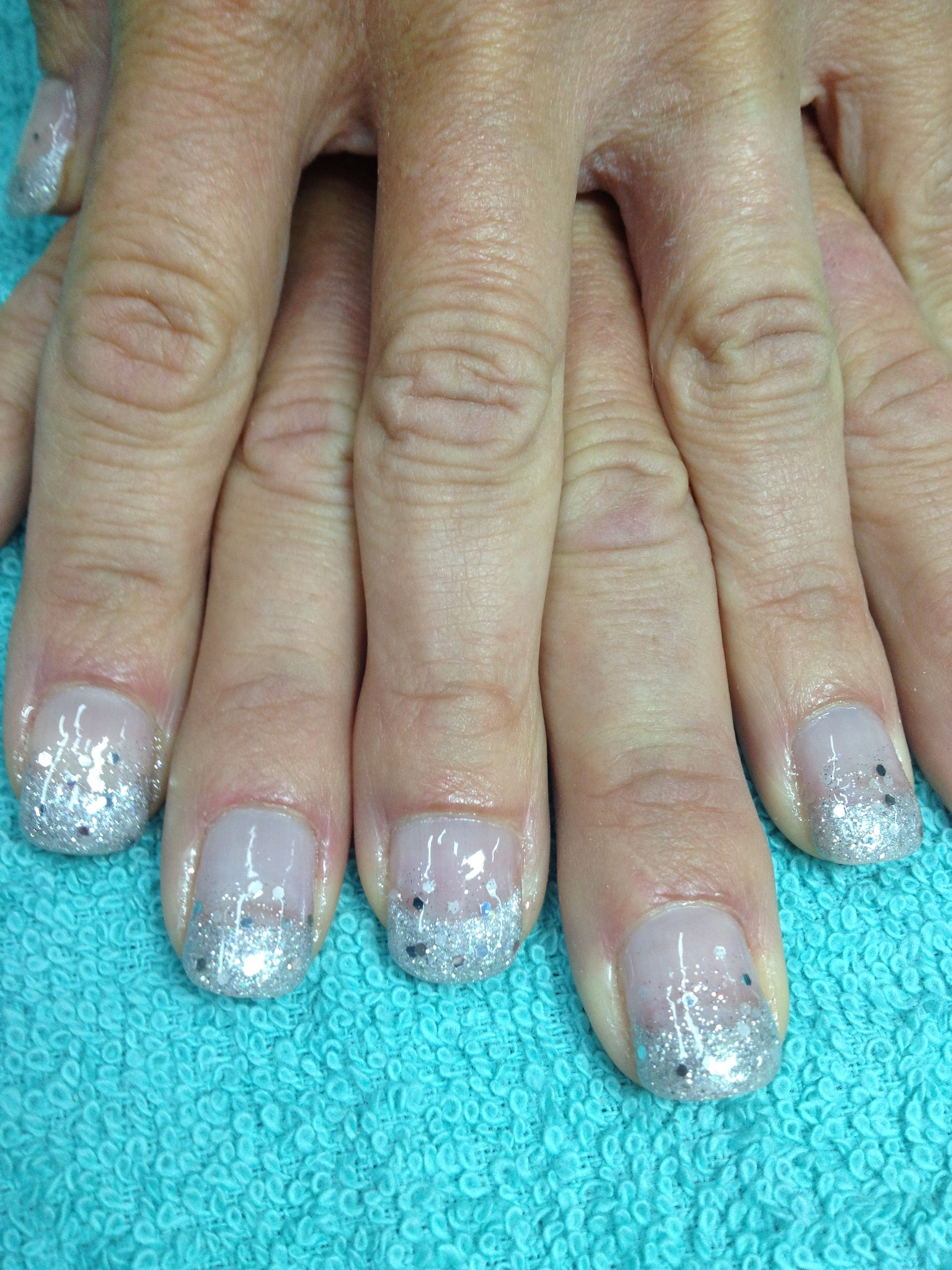 Silver spectacular!! Silver pigmented glittered French gel nails ...