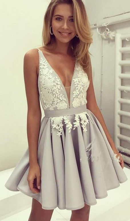 961e3960ba43 Short grey and white lace prom dress. Very cute.
