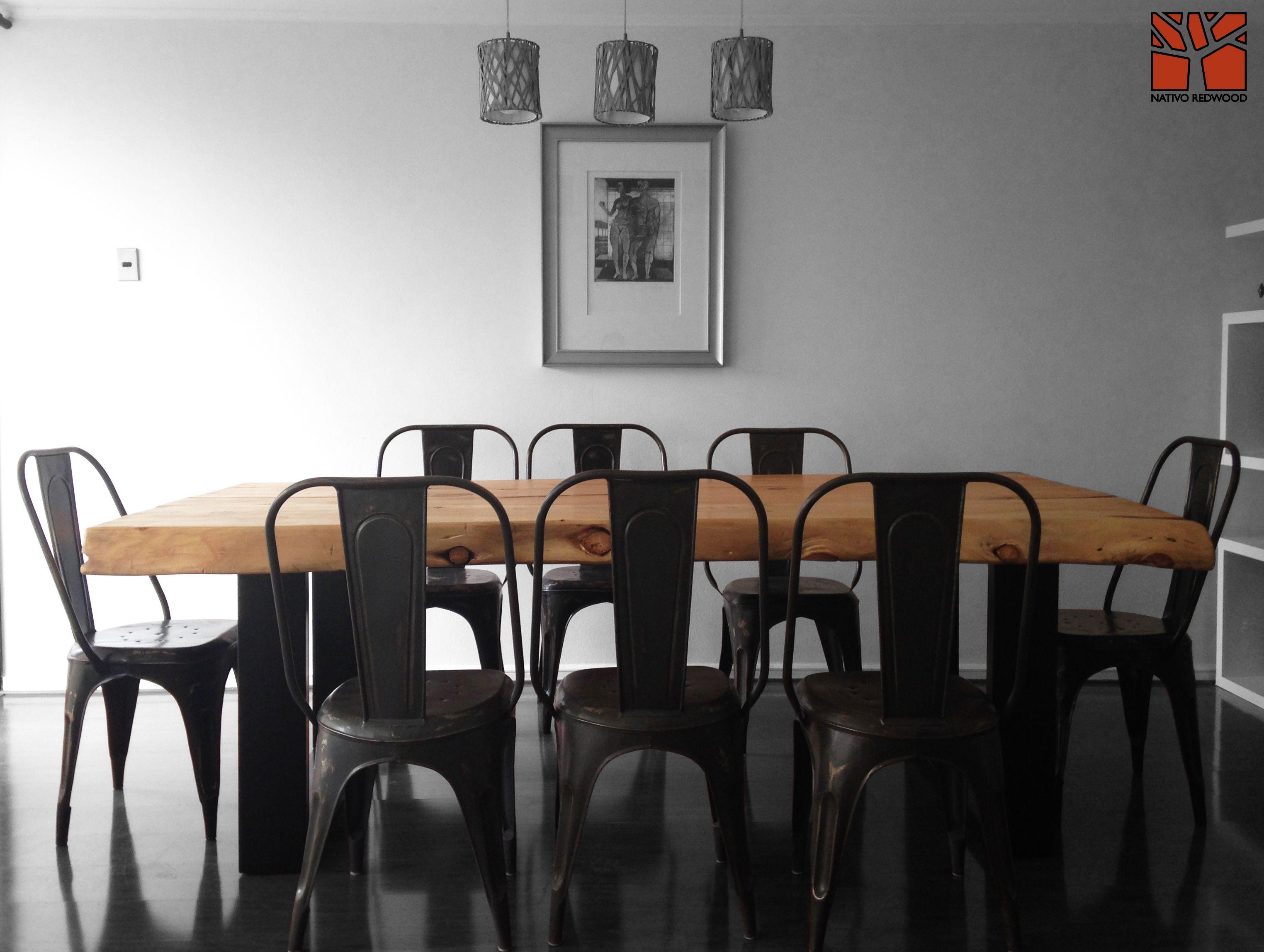 Nativo Redwood. Mesa Comedor con Cubierta de madera de Cipres 1.20x2.40x4'' con base de fierro forjado. A pedido en nuestra sucursal Nativo Red Wood Barrio Italia. Direccion: Av. Italia 1334, local 2, Galeria Casa Mestiza, Providencia. Fono: + 56 9 62277920 www.facebook.com/nativoredwoodsa