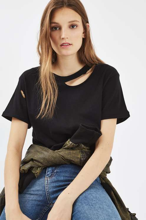 5e3ba268a69 This basic t-shirt with extreme slash and nibbling detail is a fashion  essential for casual-cool dressing. We love it with jeand and a bomber  jacket for a ...