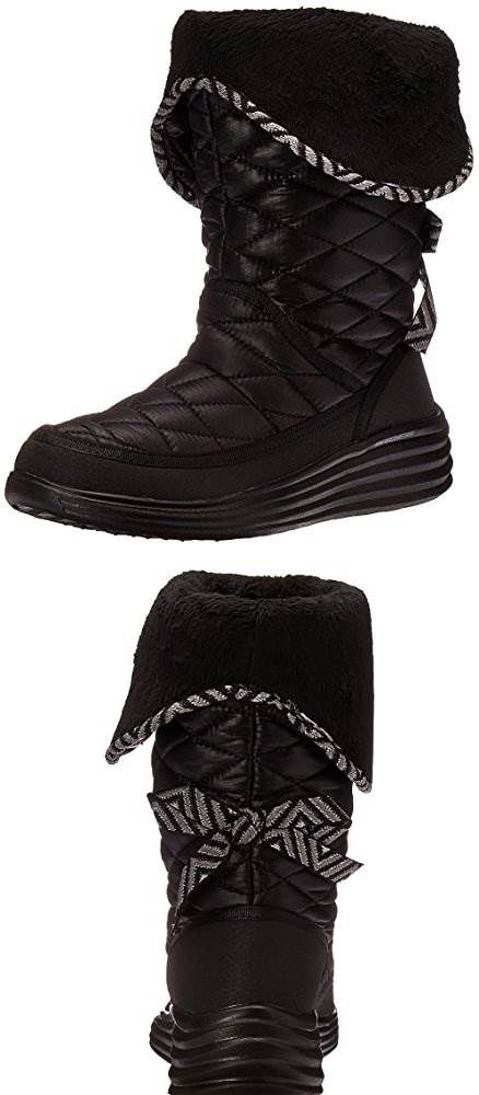 d1c2bc0425c4 WANT! Skechers Womens Halo Ring Quilted Nylon Winter Boot  Shoes ...