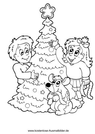 Ausmalbild Kinder Schmucken Christbaum Weihnachtsmalvorlagen Christbaum Ausmalbilder Weihnachten