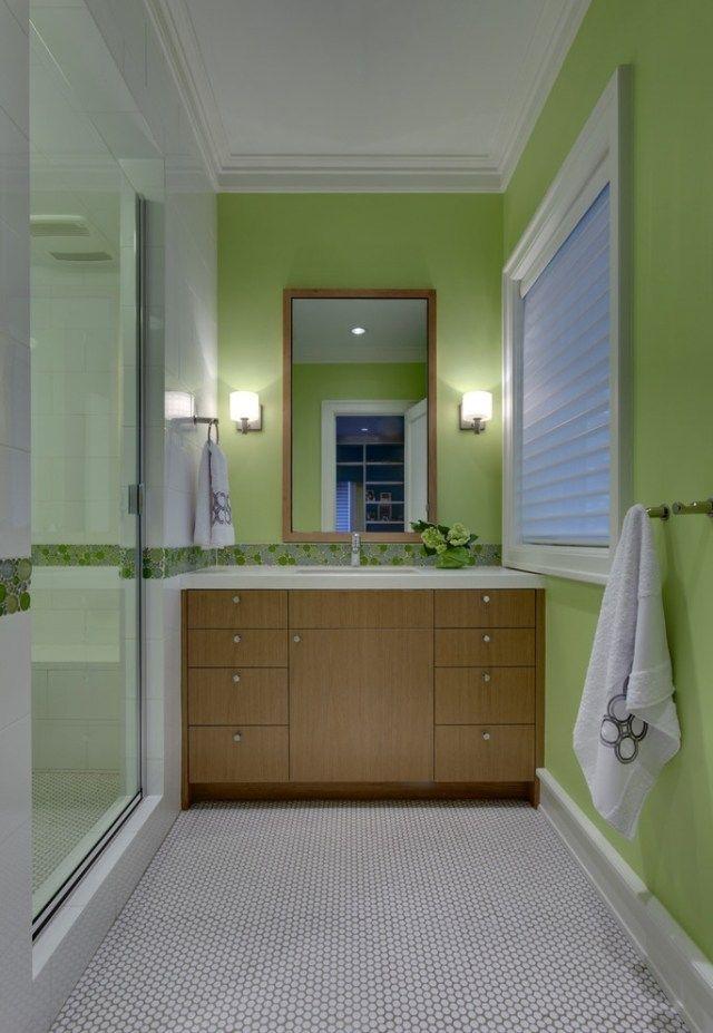 farbe badezimmer grün holz waschtischunterschrank walk-in dusche, Hause ideen