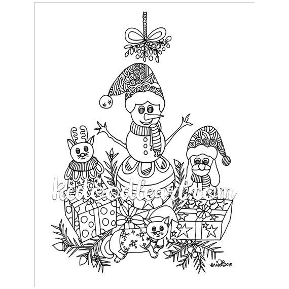 Instant Digital Download - Christmas Coloring Page - Cat ...