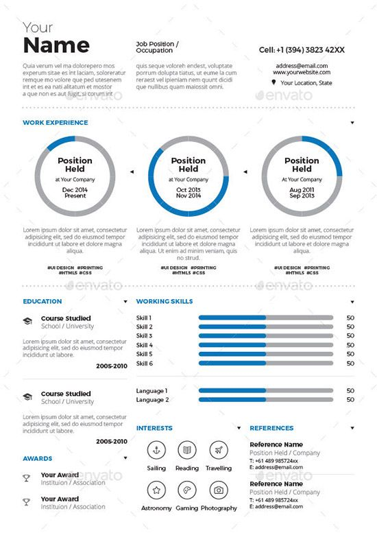 Resume Template For Free Infographic Resume Templates [Free U0026 Premium  Collection]