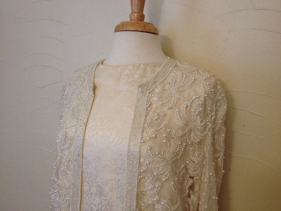 Vintage Scala Ivory Dress w Beaded Lace Jacket // Vintage Wedding // Pearls // Cream // Wmns M // Designer Vintage