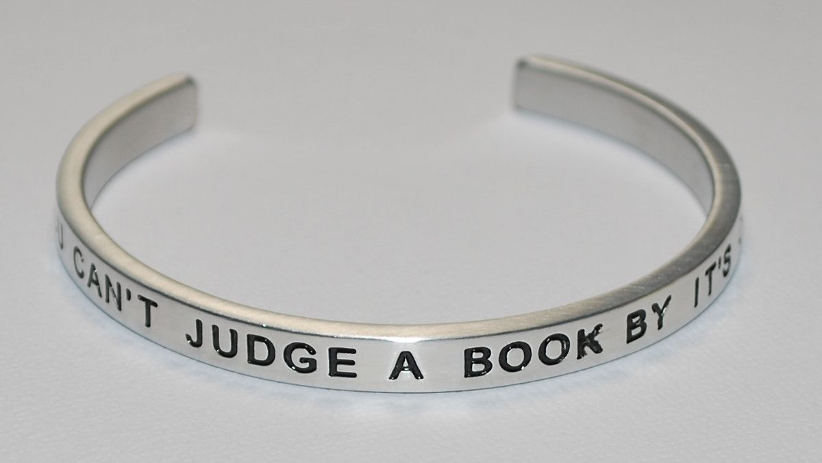You Can't Judge A Book By Its Cover   Engraved Handmade Bracelet by: Say It and Wear It Jewelry